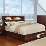 Furniture of America Gerico II California King Storage Platform Bed in Brown Cherry CM7291CH-CK
