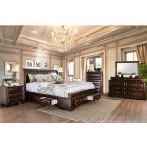 Furniture of America Brandt 4pc Storage Sleigh Bedroom Set in Brown Cherry