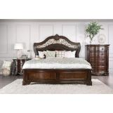 Furniture of America Menodora 4pc Sleigh Bedroom Set in Brown Cherry