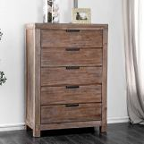 Furniture of America Wynton 5 Drawer Chest in Weathered Light Oak CM7360C