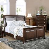Furniture of America Litchville California King Sleigh Bed in Brown Cherry CM7383CK
