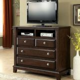Furniture of America Litchville 4 Drawer Media Chest in Brown Cherry CM7383TV