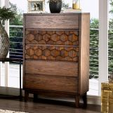 Furniture of America Kallisto 5 Drawer Chest in Chestnut Brown CM7582C