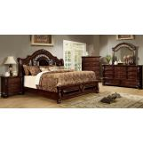 Furniture of America Flandreau/Arthur 4pc Panel Bedroom Set in Brown Cherry