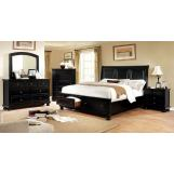 Furniture of America Castor 4pc Storage Platform Bedroom Set in Black