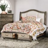 Furniture of America Belgrade I Queen Storage Platform Bed in Rustic Natural Tone and Ivory CM7614Q