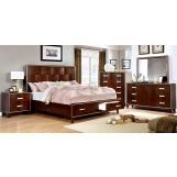 Furniture of America Safire 4pc Storage Platform Bedroom Set in Brown Cherry