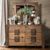 Furniture of America Janeiro 6 Drawer Dresser in Rustic Natural Tone CM7628D