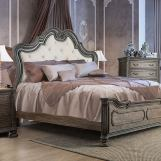 Furniture of America Ariadne King Upholstered Panel Bed in Beige and Rustic Natural Tone CM7662EK