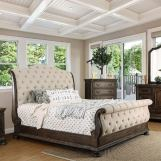 Furniture of America Lysandra Queen Sleigh Bed in Rustic Natural Tone CM7663Q