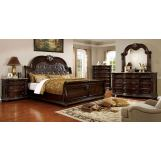 Furniture of America Fromberg 4pc Sleigh Bedroom Set in Brown Cherry
