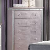 Furniture of America Claudette 5 Drawer Chest in Silver Rose CM7972C