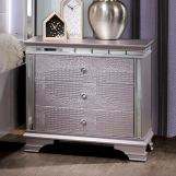 Furniture of America Claudette 3 Drawer Nightstand in Silver Rose CM7972N