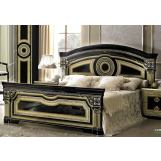 ESF Furniture Aida Queen Panel Bed in Black w/ Gold