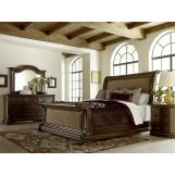 A.R.T Gables 4pc Upholstered Sleigh Bedroom Set in Cherry