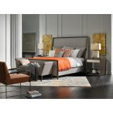 Fine Furniture Deco 4pc L' Arc Upholstered Bedroom Set in Black Coffee