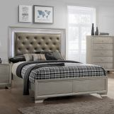 Crown Mark Lyssa Twin Upholstered Panel Bed in Embossed Crocodile Pattern