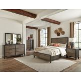 Klaussner Marlo 4pc Panel Bedroom Set in Charcoal and Mink