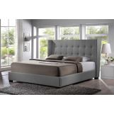 Baxton Studio Favela Queen Modern Bed with Upholstered Headboard in Grey