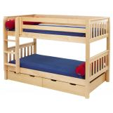 Maxtrix Bare Bone Low Bunk (4 x Low) Slat Bedroom Set in Natural