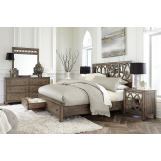 Aspenhome Tildon 4-Piece Mirrored Panel Storage Bedroom Set in Mink