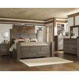 Juararo 4pc Poster Storage Bedroom Set in Dark Brown