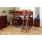 Maxtrix Bare Bone High Loft (2 x LOW) Slat Bedroom Set in Chestnut (Angle Ladder)