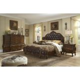 AICO Lavelle Melange 4-Piece Mansion Bedroom Set w/ Leather Inserts  in Warm Brown