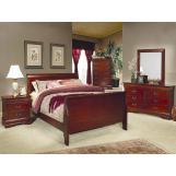 Coaster Louis Philippe Sleigh Bedroom Set in Cherry 200431
