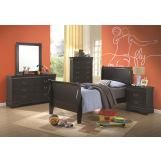 Coaster Louis Philippe Youth Sleigh Bedroom Set in Black 201071