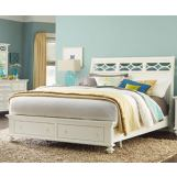 American Drew Lynn Haven King Sleigh Bed with Storage in Dover White 416-335R