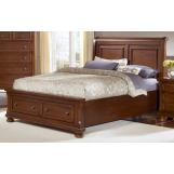All-American Muse Queen Sleigh Storage Bed in Medium Cherry