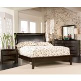 Coaster Phoenix Leather Bedroom Set in Cappuccino 200410