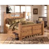 Bittersweet Poster Bedroom Set with Underbed Storage in Pine Grain