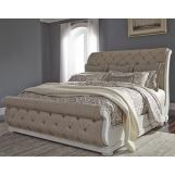 Liberty Furniture Abbey Park Upholstered King Sleigh Bed in Antique White EST SHIP TIME IS 4 WEEKS
