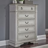 Liberty Furniture Abbey Park Drawer Chest in Antique White 520-BR41 EST SHIP TIME IS 4 WEEKS
