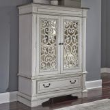Liberty Furniture Abbey Park Mirrored Door Chest in Antique White 520-BR42 EST SHIP TIME IS 4 WEEKS