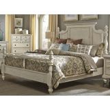 Liberty Furniture High Country King Poster Bed in White EST SHIP TIME IS 4 WEEKS
