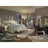 AICO Hollywood Swank 4pc Upholstered Platform Bedroom Set in Creamy Pearl