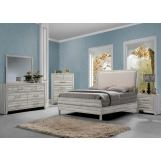 Acme Shayla 4pc Fabric Panel Bedroom Set in Antique White