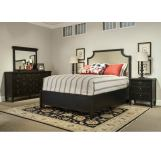 Durham Furniture Springville 4 Piece Upholstered Panel Bedroom Set in Greystone