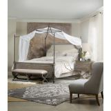 Hooker Furniture True Vintage 4-Piece Upholstered Canopy Bedroom Set in Light Wood