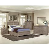 All-American Evolution 4 Piece Panel Bedroom Set with 1 Side Storage in Driftwood Oak