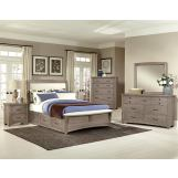 All-American Evolution 4 Piece Upholstered Bedroom Set with 1 Side Storage in Driftwood Oak