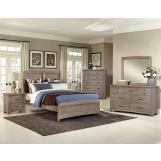 All-American Evolution 4 Piece Panel Bedroom Set in Driftwood Oak