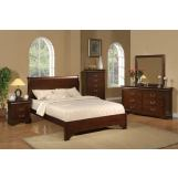 Alpine Furniture West Haven 5-Piece Low Footboard Sleigh Bedroom Set in Cappuccino