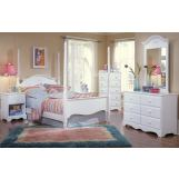 Carolina Furniture Cottage 4 Piece Princess Bedroom Set in White