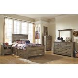 Trinell 4-Piece Panel with Underbed Storage and Rails Bedroom Set in Warm Rustic Oak