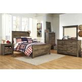 Trinell 4-Piece Panel Bedroom Set in Warm Rustic Oak