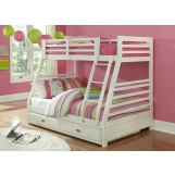 Hillsdale Furniture Bailey Twin/Full Bunk Bed with Trundle Drawer in White